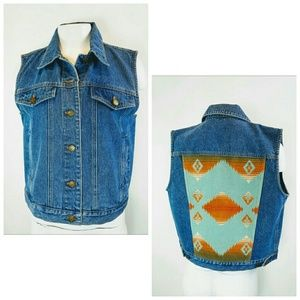 PENDLETON Women's Sz S Denim Vest Wool Blanket